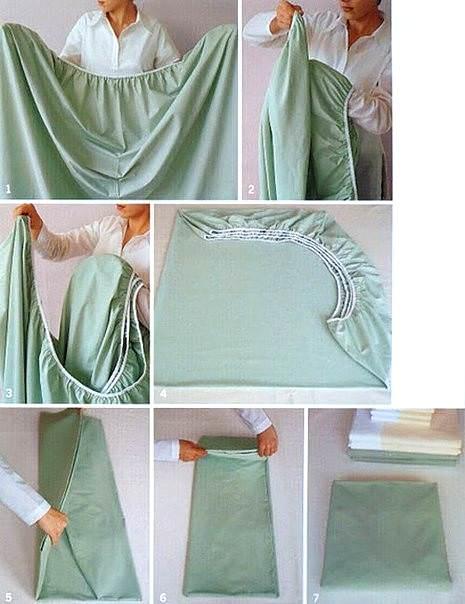 Фото: Как правильно и аккуратно сложить простынь на резинке