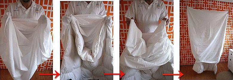 Способ №1 заправить одеяло в пододеяльник