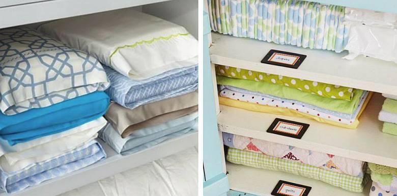 Как компактно сложить постельное белье в шкафу