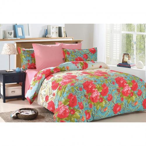 Комплект постельного белья семейный Amore Mio, Victoria, розовый